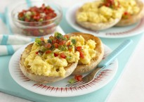 3801 35284 Scrambled Eggs with Tomato Salsa on English Muffin Hres