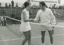British tennis player and young female player at the Tennis Fellowship. Butlins Bognor Regis