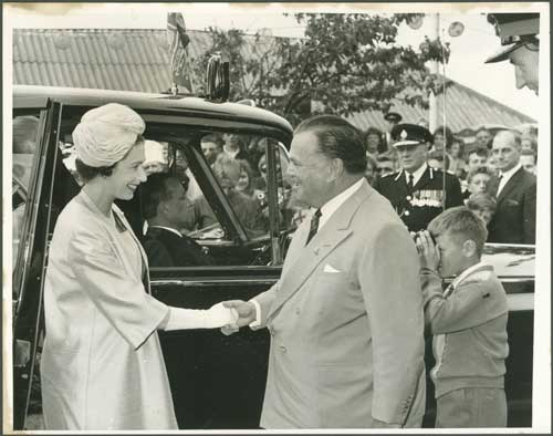 Billy Butlin greets the Queen on her arrival to Butlin's Pwllheli.