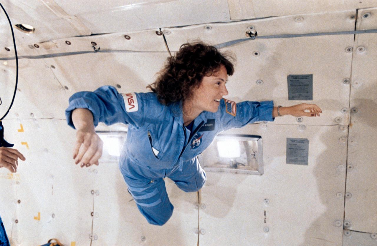 NASA Image & Video Library | Teacher in Space Christa McAuliffe on the KC-135 for zero-G training | All credits to NASA.gov