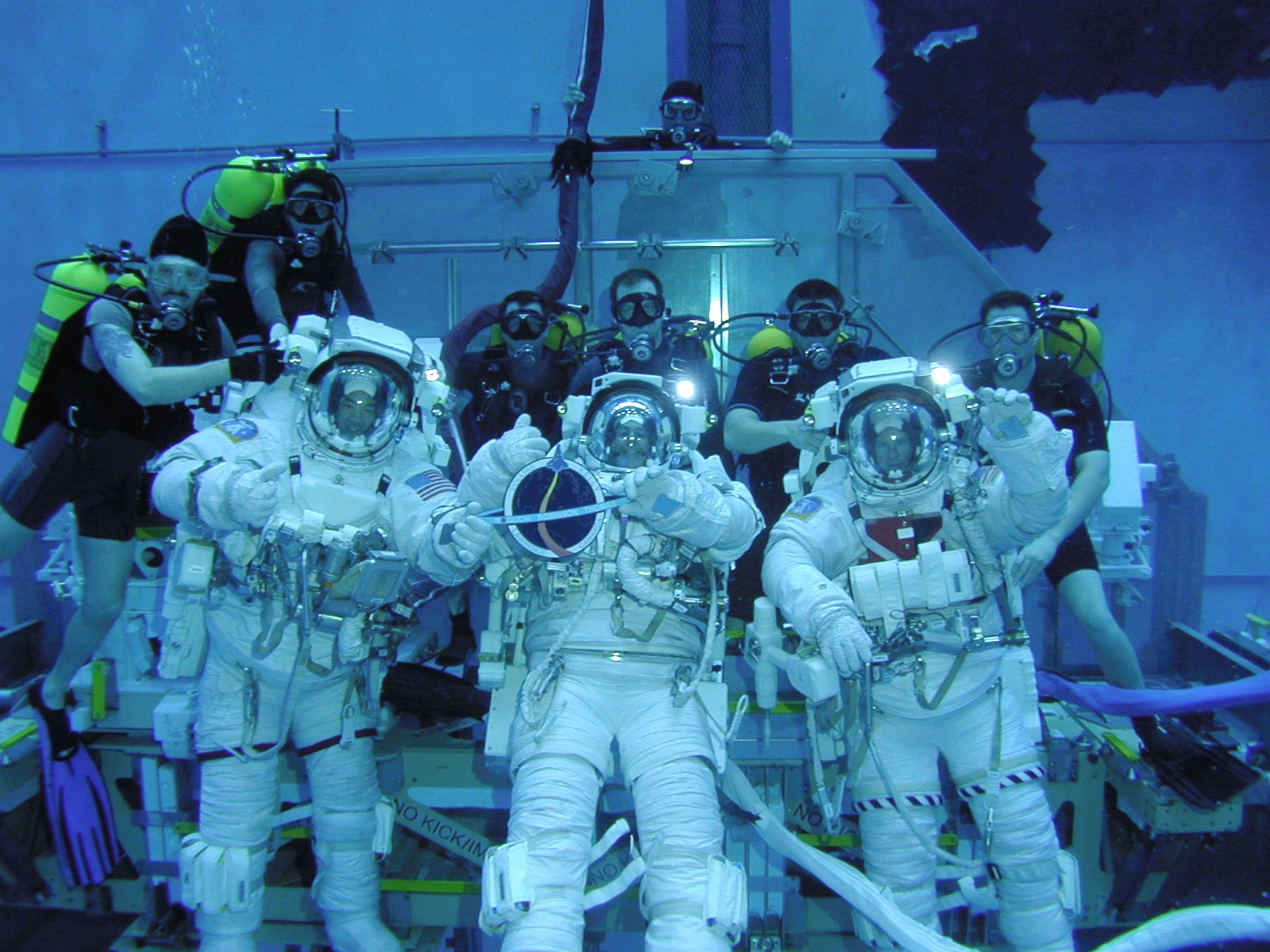 NASA Image & Video Library   STS-114 astronauts during underwater training   All credits to NASA.gov