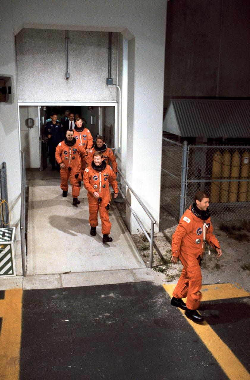 NASA Image & Video Library   STS-28 Columbia, OV-102, crewmembers leave KSC O&C Bldg en route to LC Pad 39   All credits to NASA.gov