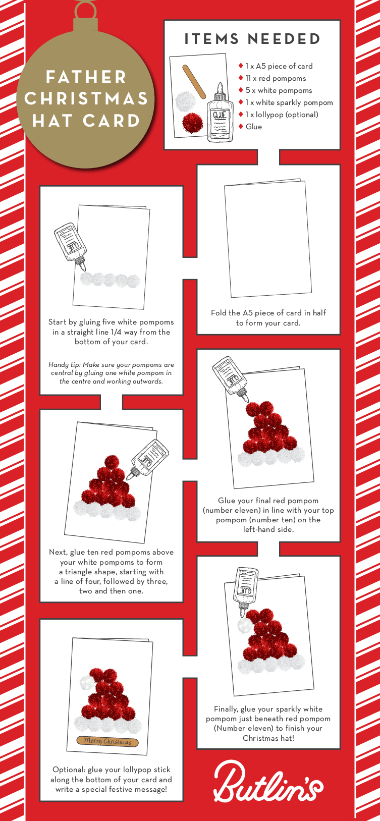 Father Christmas Hat card | Christmas how to | Butlins Blog